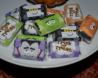 CLASSIC MONSTERS mini halloween candy wrappers - YOU print - instant download