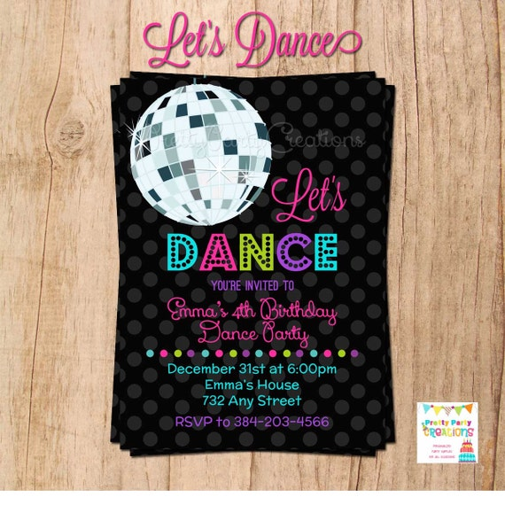 let s dance disco ball invitation you print etsy