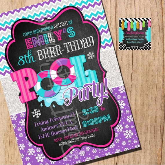 winter pool party invitation you print etsy