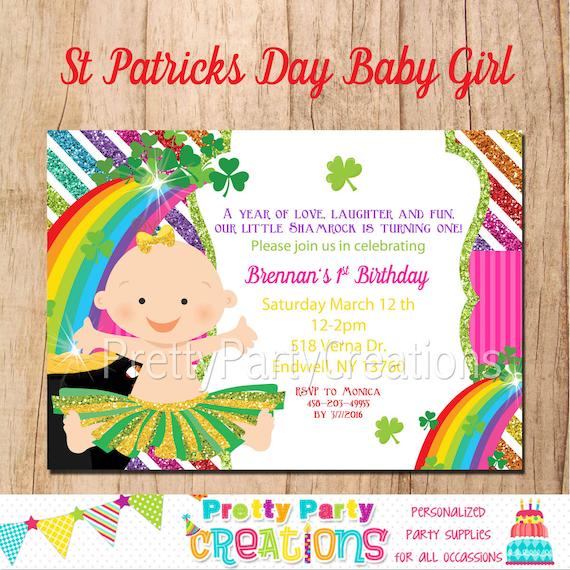 ST PATRICKS DAY Baby Girl 1st Birthday Invitation