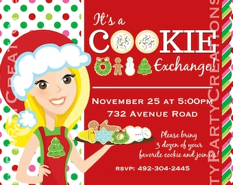 COOKIE SWAP GIRL - cookie exchange, cookie decorating party - You Print - 3 girls to choose