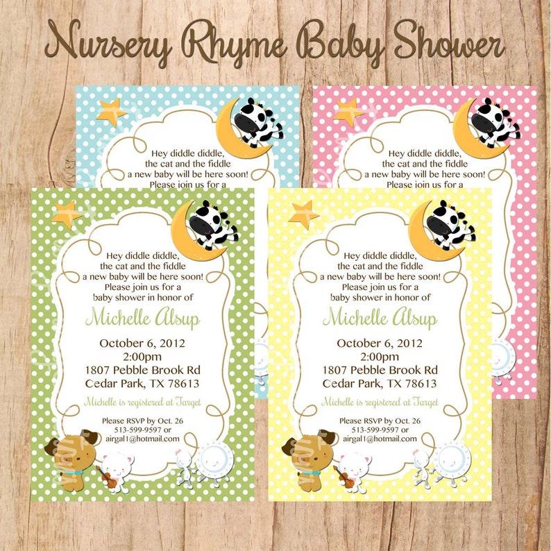 NURSERY RHYME Baby Shower Or Birthday Invitation U PRINT