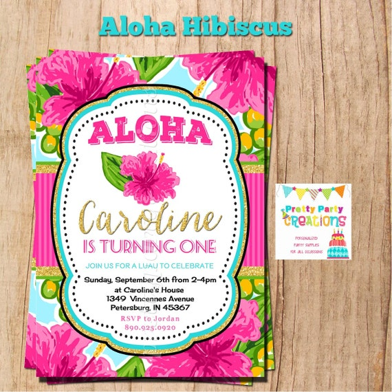 aloha hibiscus invitation you print etsy