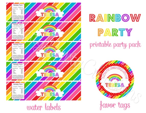 rainbow party pack u print toppers favor tags invite banner