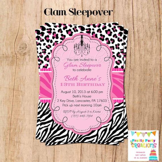 GLAM SLEEPOVER Invitation