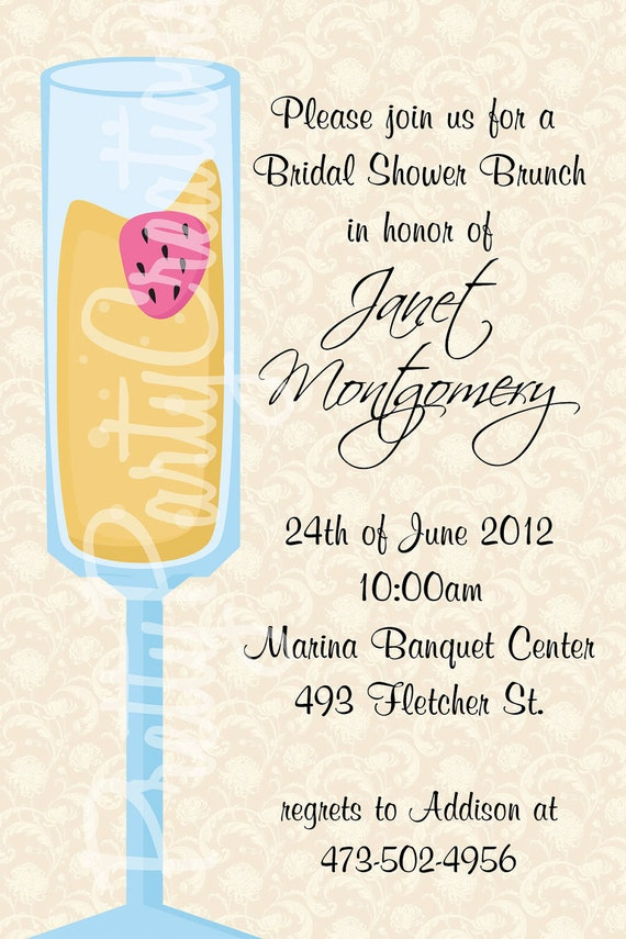 75242d3dc3cf MIMOSA bridal shower brunch invitation YOU PRINT 2 to