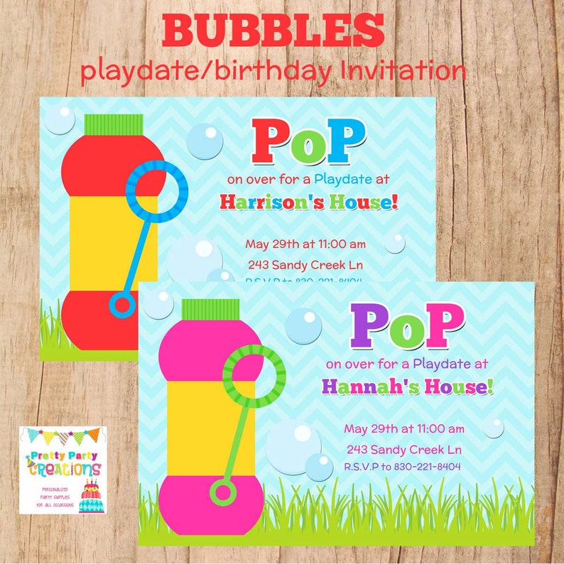Bubbles Playdate Or Birthday Invitation 2 To Choose You Etsy