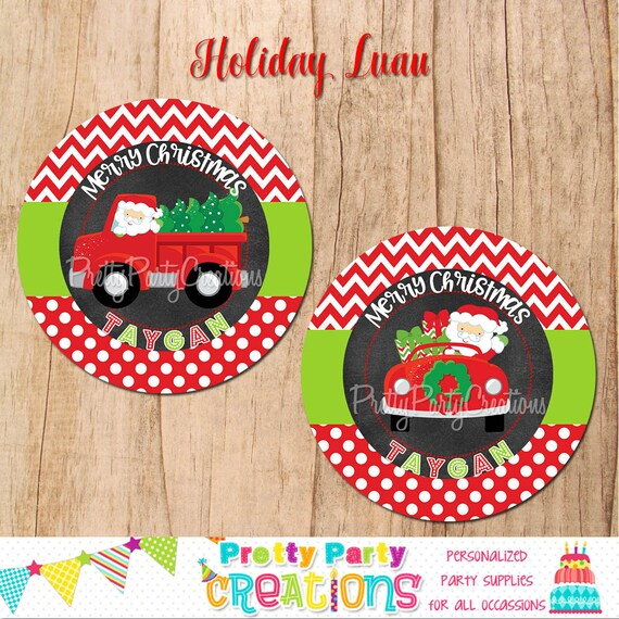 santa in truck holiday tags stickers labels address labels you