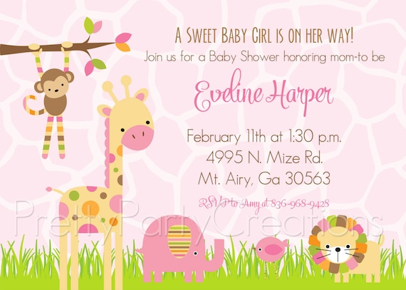 Mod Pink Jungle Baby Shower Invitation You Print Etsy