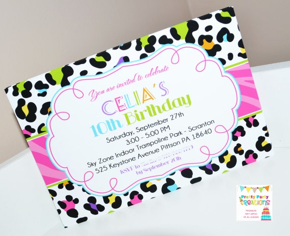 rainbow leopard invitation you print etsy
