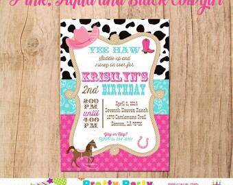 COWGIRL invitation - you print - Pink, Aqua and Black