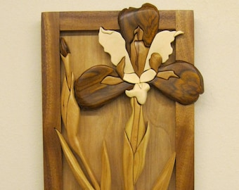 IRIS GRANADILLO, XII, Intarsia carved by Rakowoods. flower wall decor, gift for everyone, home office, cabin or den.  Anniversary  birthdays