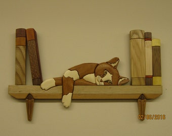 Cat on a Book Shelf,hand carved Intarsia by Rakowoods;gift for cat lovers,home decor, cabin,anniversaries,birthday,Christmas,wood carved art