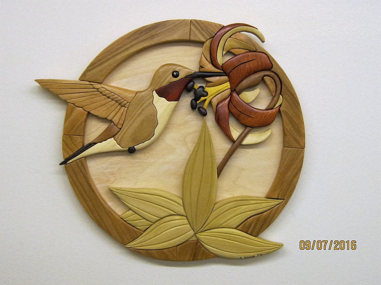 HUMMINGBIRD wood carved wall decor intarsia art by | Etsy