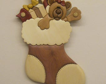 SANTAS STOCKING, INTARSIA carved by Rakowoods, Christmas wall decor, XMas gift,wood carved gift,birthday,cabin,home decor,nursery decor