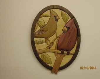 CARDINAL PAIR, beautiful warm red, Intarsia carved by Rakowoods art/sculpture/carved/wood. Gift for home, anniversary, lake  & bird lovers