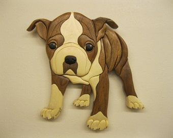 BOSTON TERRIER, INTARSIA, carved by Rakowoods, you will love to hold him, gift for any dog lover, hand carved wooden wall decor, carved art