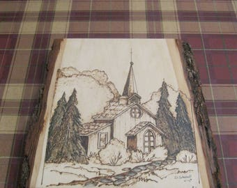 PYRO COUNTRY CHURCH, wood burned by Rakowoods, birthday gift, den,wall decor,anniversary or wedding gift, cabin decor,church,rural church