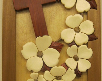 Cross & Dogwood flowers, hand carved  Rakowoods, wall decor for Christmas, Easter, Anniversaries, cabins,red white decor, house warming gift