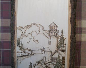 LIGHT HOUSE, pyro wood burned by Rakowoods, wall decor, gifts, anniversary, cabin,lake home, birthdays, anniversaries,office gifts, seaside