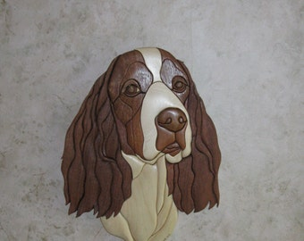 SPRINGER SPANIEL ,hand carved wood Intarsia wall decor by Rakowoods, man cave , hunters gift, birthdays, anniversaries, Christmas,