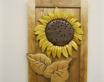SUNFLOWER, MEDIUM, intarsia carved by Rakowoods, wood carved wall decor, birthday gift, anniversary,
