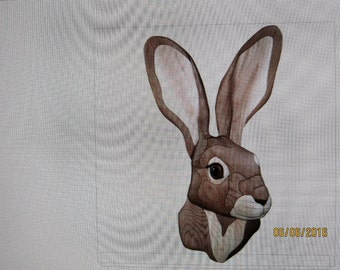 JACK RABBIT, Intarsia carved by Rakowoods; wall decor wood carved, great gift, birthdays, Christmas,cabin decor,rabbit for all occasions,