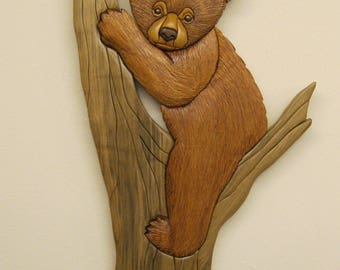 BEAR CUB, Intarsia carved by Rakowoods price REDUCED great gift idea for Fathers Day, Cabin Decor,Birthdays,wood carved,