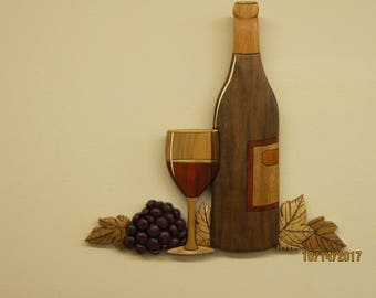 Wine, still life  III, hand carved Intarsia gift, dining room wall decor, bar decor, den, wine room, birthday gift,anniversary & christmas