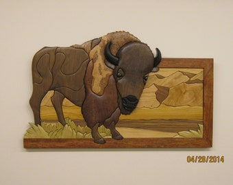 BUFFALO,  INTARSIA hand carved wood by RAKOWOODS, prairie location, gift for cabin owner, birthday, special achievement award, aniversary