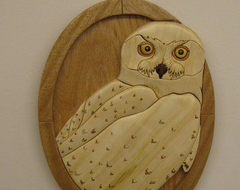 WHITE SNOWY OWL  Intarsia wood carving, wall decor gift, Unique Birthday Present, natural wood tones no stains, hand rubbed finish,