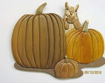 SQUIRREL hoarding pumpkins, Intarsia carved by Rakowoods; custom order