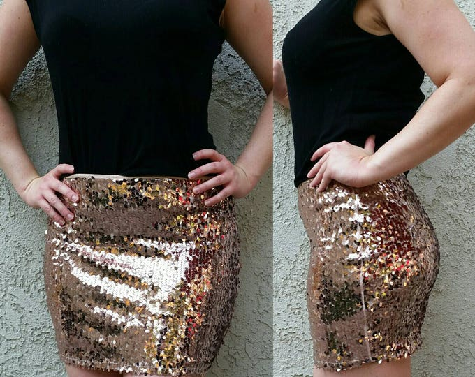 Featured listing image: CLEARANCE - Dark Rose Gold Sequin Skirt - Mini skirt, full oval shaped sequins (S, M, L, XL) Super beautiful in person, ships asap!