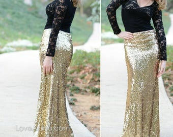 df1a24e3b 15% OFF - Shiny Gold Maxi - Gorgeous high quality sequins- Long sequined  skirt - S, M, L, XL (Handmade in LA!) Ships asap!