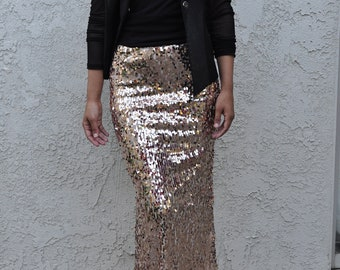15c16a0a2b 50% OFF - Champagne Ovals Medium Quality Maxi Skirt - Dangly sequins - Long  sequined skirt (s