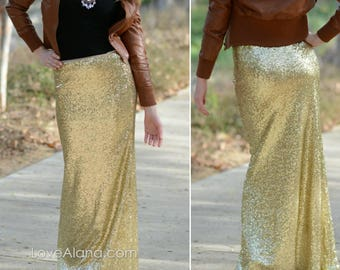 Shiny Gold Maxi - Gorgeous high quality- Long sequined skirt - S d8227ff971e4
