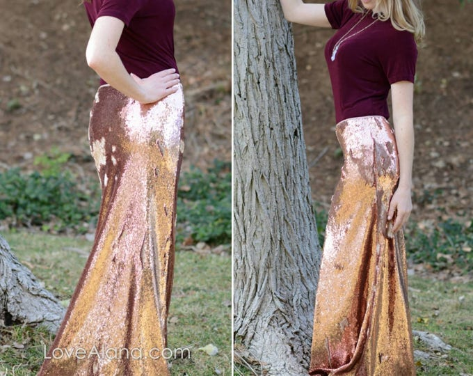 Featured listing image: CLEARANCE - RoseGold Flip Sequin Matte/Shiny Sequin Maxi - Gorgeous high quality- Long sequined skirt (S,M,L,XL) runs big.