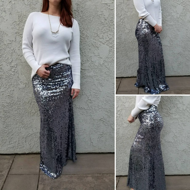 870f308af8 10% OFF Shiny Gunmetal Maxi Oval Sequins Gorgeous high