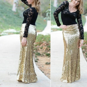 17c65ca38b 10% OFF - Shiny Gold Maxi - Gorgeous high quality sequins- Long sequined  skirt - S