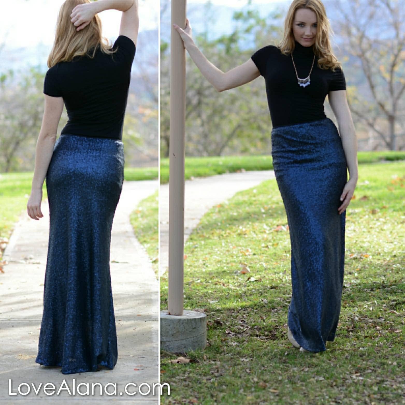 e5067de05 20% OFF - Spring Sale! Navy Maxi Sequin Skirt - Gorgeous high ...