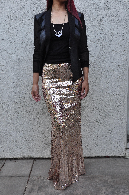 b9b8f40202 Champagne Ovals Medium Quality Maxi Skirt - Dangly sequins - Long ...
