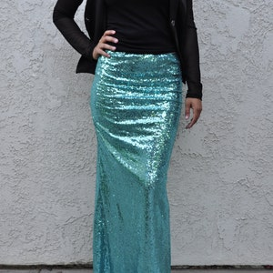 848fd6c167 50% OFF - CLEARANCE Turquoise Shiny Sequin Skirt - Gorgeous high quality  sequins (Only a few available) Ships asap