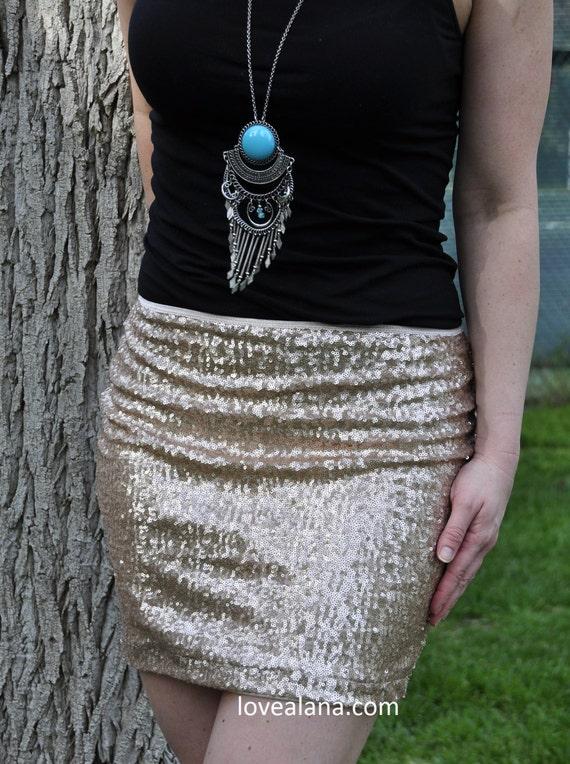 Matte Champagne Sequin Skirt Pencil Midi Bodycon S M Made in USA