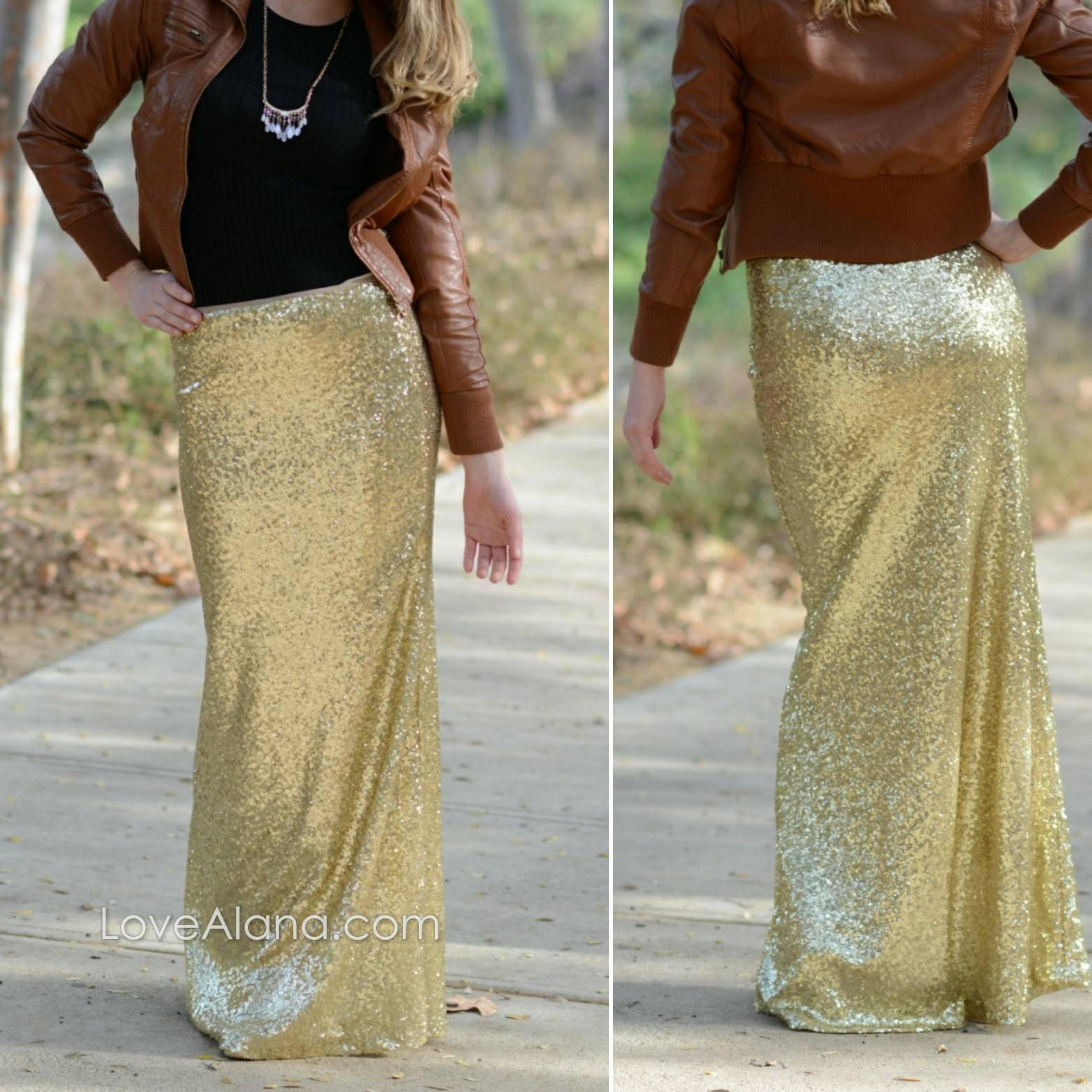 1c926e8df 15% OFF - Shiny Gold Maxi - Gorgeous high quality- Long sequined skirt