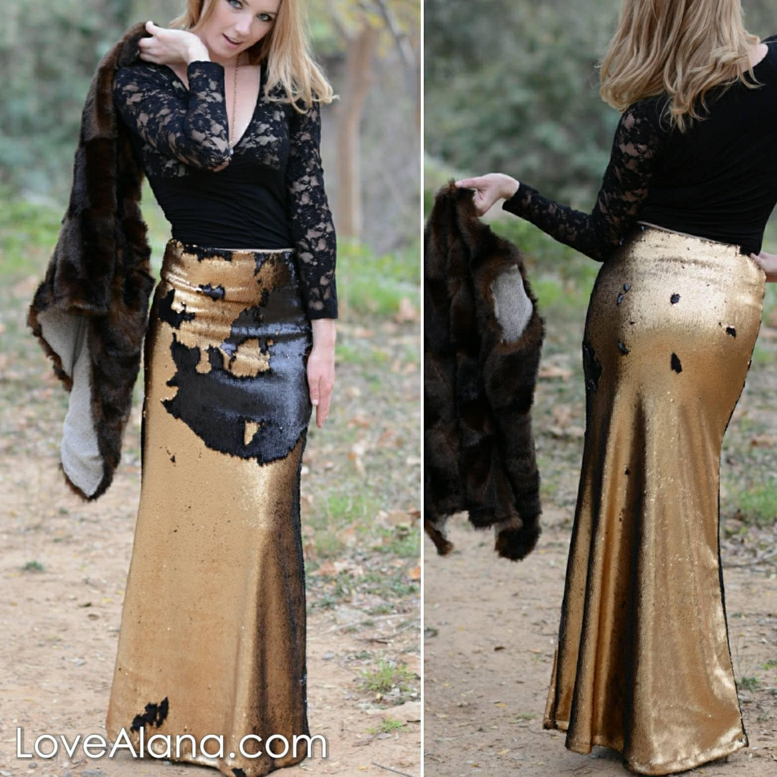 83ac157b0 50% OFF - Small Matte Black/Dark Gold Flip Sequin Maxi - Gorgeous ...