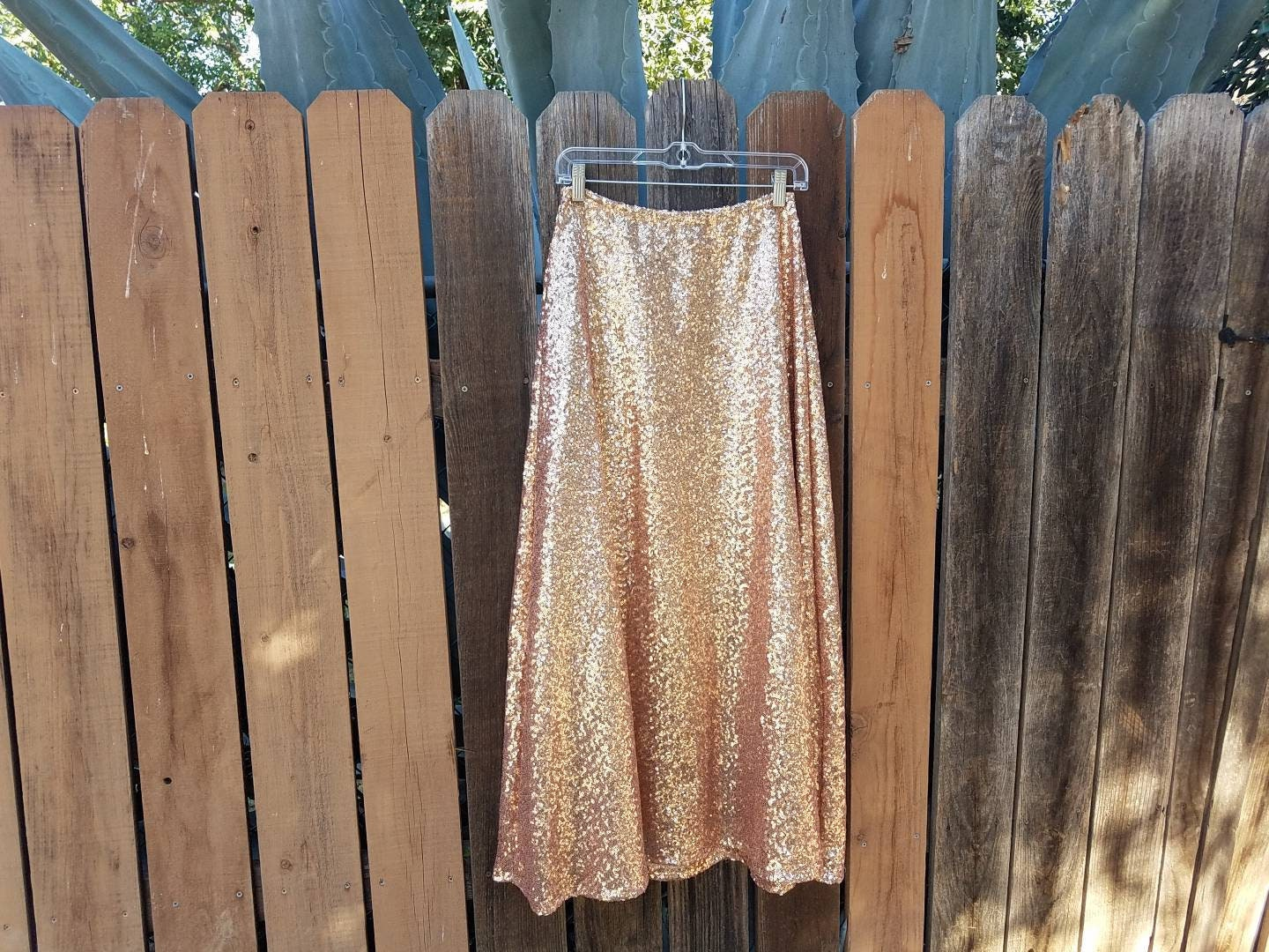 948ae3470 Last One - Large Petite A-Line Maxi Rose Gold Champagne Skirt ...