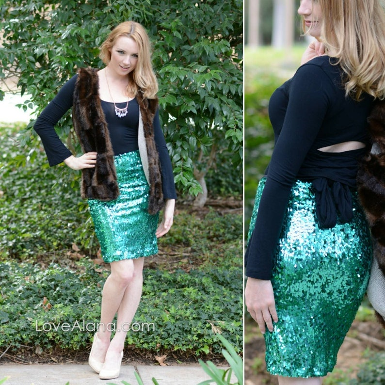 Ships asap! CLEARANCE Emerald Pencil Skirt comfortable and chic S, M, L, XL Beautiful quality