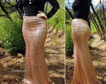 Rose Gold Sequin Maxi - Gorgeous long sequined skirt - S, M, L , XL (Handmade in LA!) New version!