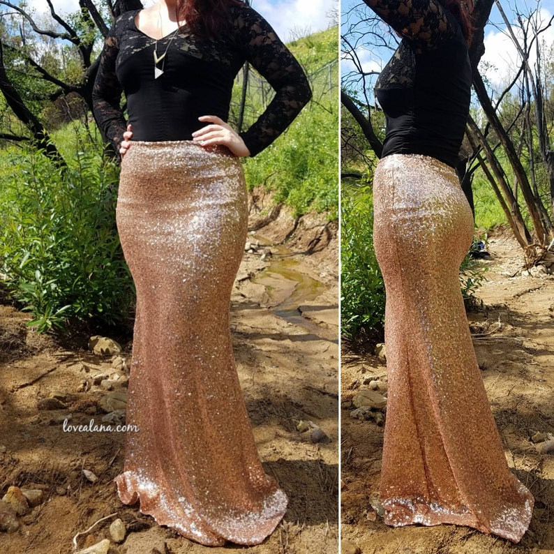 9350bc91b 15% OFF Rose Gold Sequin Maxi Gorgeous long sequined skirt | Etsy