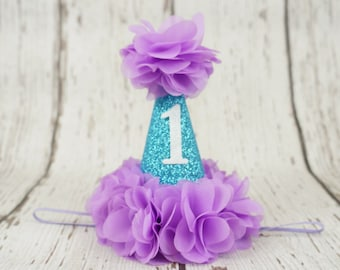1st birthday hat, girls birthday hat, purple and turquoie birthday hat, first birthday, 2nd birthday hat, girls birthday headband, baby girl
